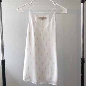 White and Gold Printed Tank Top